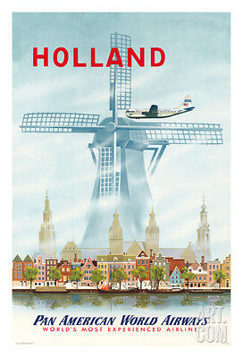 Holland - Netherlands Dutch Windmill - Pan American World Airways (PAA), 30x4...