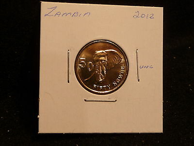 Zambia:   2012     50 Ngwee    Coin     (Unc.)    (#3740)  Km #