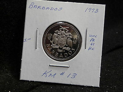 Barbados:   1973   25 Cent  Coin  Proof Hc  (Unc.)    (#977)  Km # 13