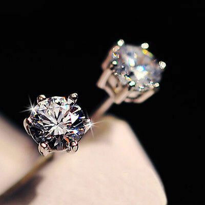 New Silver Classic Crystal Lab Diamond Cutting Stud Earrings Gift