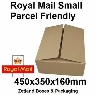 100 X New ROYAL MAIL 450x350x160mm Maximum Small Parcel Size Postal Boxes Box