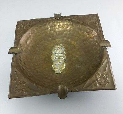 Antique Vintage Old Brass Egyptian Revival Ashtray Art Deco Collectible Handmade