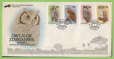 Zimbabwe 1993 Birds - Owls set on First Day Cover