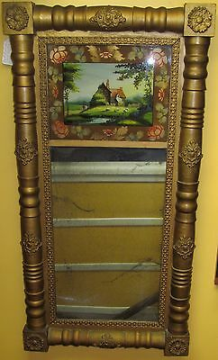Early 19Th Century Sheraton Federal Period Reverse Glass Painted Mirror