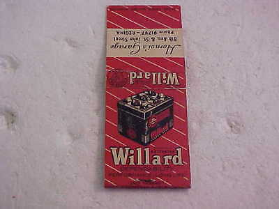 Vintage Willard Batteries Matchbook Hornoi's Garage Regina Sk