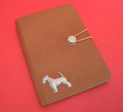 Airedale Terrier Motif A6 Tan Soft Touch Note Book Father Mothers Useful Gift
