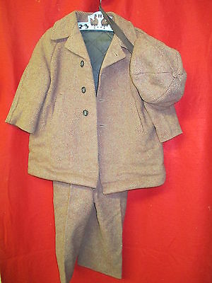 Vintage 1950's Child's Wool insulated Jacket lined Pants with Suspenders & Hat
