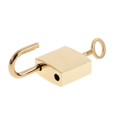 Lot of 3 Mini Square Padlock Tiny Luggage Bag Jewlery Box Lock Keys Golden