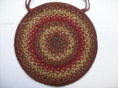 "Homespice Decor CIDER BARN Braided Jute 15"" Chair Pad with Ties"