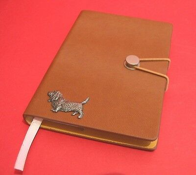 Basset Hound Motif A6 Tan Soft Touch Note Book Father Mothers Useful Gift
