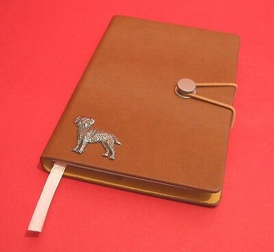 Border Terrier Motif A6 Tan Journal Note book Father Mothers Christmas Gift