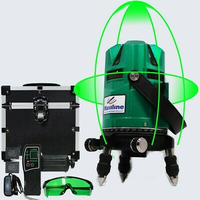 4V4H GREEN BEAM Self Leveling Cross Line Laser Level + Detector 360 Horizontal