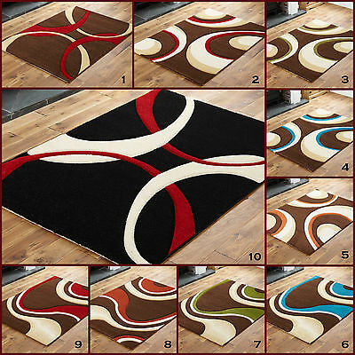 EXTRA Large Hand Carved 12MM THICK BLACK RED MULTI COLOUR SWIRL Quality Rugs