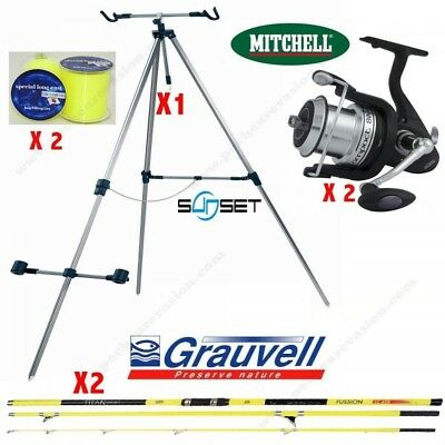 Pack Surf Grauvell Titan Sport Fussion + Trèpied Sunset + Moulinets Mitchell Com