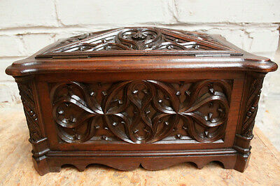 Antique Wooden Box, Great Detailed Carvings French Gothic 1800-1899, Walnut