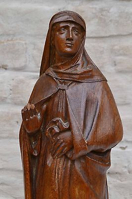 Statue Religious Gothic Madonna, Antique French Hand Carved Wood , Oak
