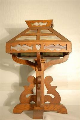 Arts & Crafts Lamp Rustic Wood Mission Table Style Caramel Glass 1920s Original