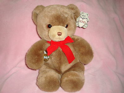 Gund Brown Bear Tender Teddy W/ Red Ribbon Vintage 1983 w/tags 12""