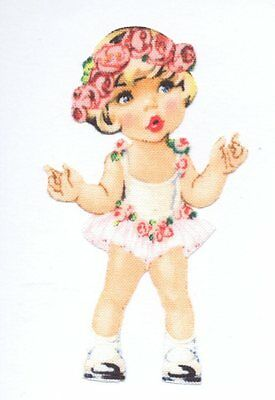 Patch Thermocollant en tissu Fille Poupée Robe rose Iron-on patch Paper Doll