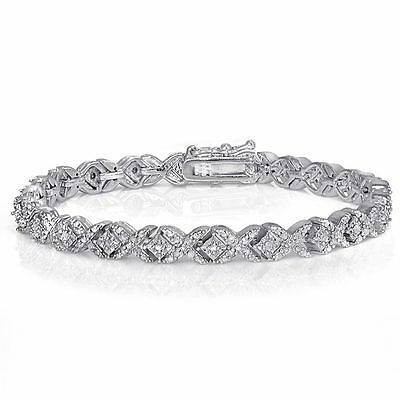 Sterling Silver Finish Natural Miracle Set X Tennis Bracelet Lab Diamond Brass