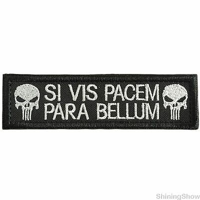 Si Vis Pacem Para Bellum Punisher Skull Usa Army Tactical Patch  Badge