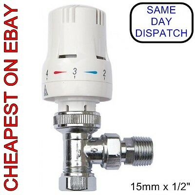 "15mm x 1/2"" Chrome Angled TRV Thermostatic Radiator Valve Rad Valves"