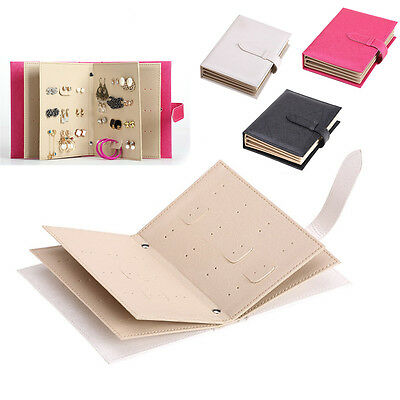 Cool Leather Earrings Organizer Book Storage Case Ear Studs Jewelry Display Box