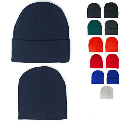 1 Dozen Beanies Classic Short Uncuffed or Long Cuffed Warm Winter Hats Wholesale