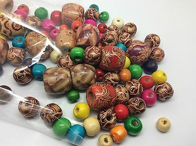 80g of mixed colourful and tribal wooden beads for crafts and jewellery