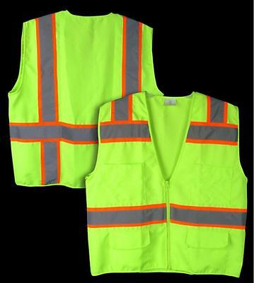 NEW HI VIS ANSI/ISEA Class 2 Solid Heavy-Duty Safety Vest w/ Multiple Pockets
