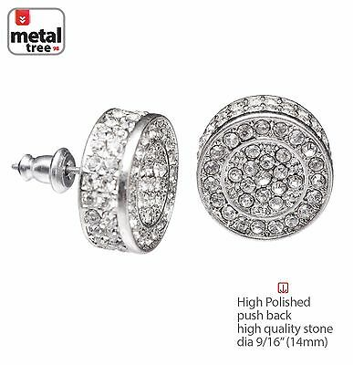 Hip Hop Men's Bling Silver XL Flat Round Micro Pave AAA CZ Stud Earrings TE 530S
