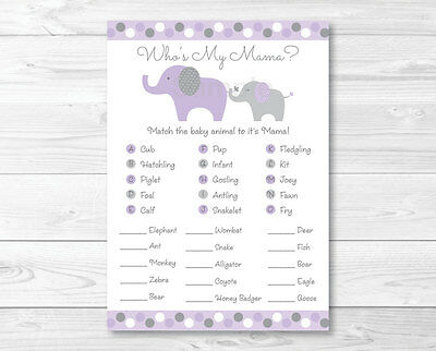 Lavender Elephant Baby Shower Baby Animal Match Game Printable