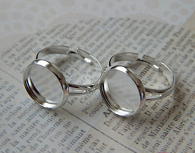 5 pcs Silver Tone Ring Base Blanks 12mm Tray Setting Glass Cabochons included