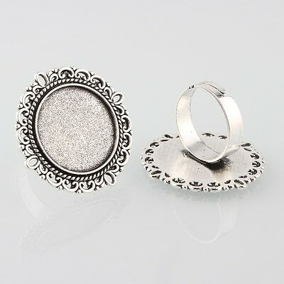 5 x Silver Tone Ring Base Blanks 20mm Vintage Tray Setting with Glass Cabochons