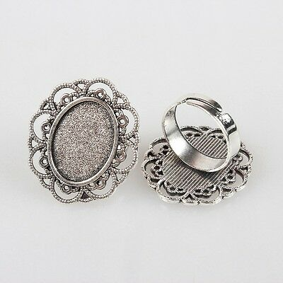 5 x Silver Ring Base Blanks, 13x18mm Vintage Tray Setting with Glass Cabochons