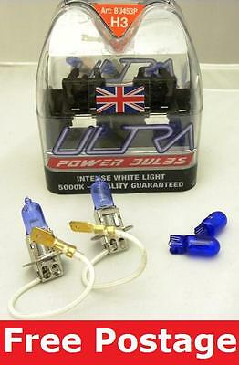 A Pair of H3 Ultra Power Xenon Ice blue Bulbs for VW GOLF MK1 74