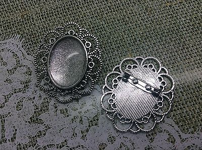 3 x Silver Brooch Blank Base Diy Kit Vintage Tray Setting with Glass Cabochons