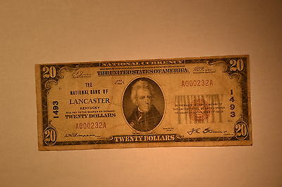 Lancaster, KY - $20 1929 Ty. 1 The NB of Lancaster Ch. # 1493. Fine.