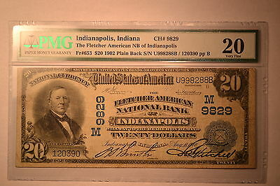 Indianapolis, IN - $20 1902 Plain Back Fr. 653 The Fletcher Am NB Ch. # (M9829)
