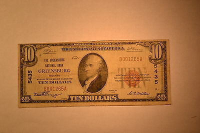 Greensburg, IN - $10 1929 Ty. 1 The Greensburg NB Ch. # 5435