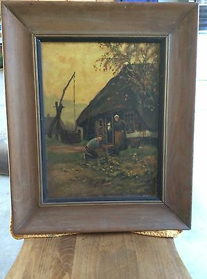 ANTIQUE OIL PAINTING FARMER & WIFE 19th C GARDENING BEAUTIFUL FARMHOUSE SCENE