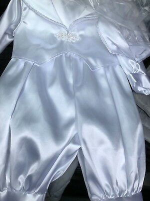 Baby Boys New Christening outfit Suit Romper 0-6 6-12 12-18 Ivory Or White