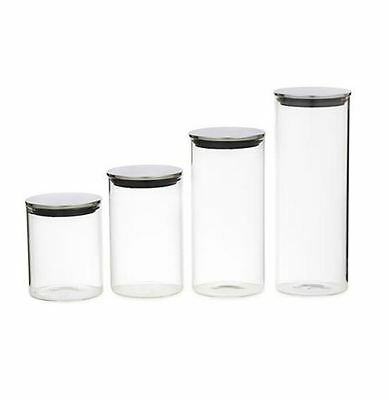 Kitchen Storage Clear Glass Cannisters Jars w/ Stainless Steel Lids. Set of 4