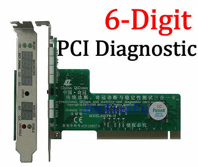 PC mainboard 6-Digit PCI Diagnostic Analyzer POST Debug Card