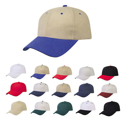 Heavy Brushed Cotton 6 Panel Low Crown Baseball Caps Hats Solid Two Tone Colors
