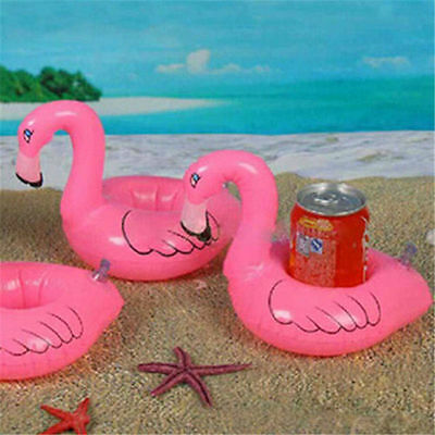 2Pcs Flamingo Floating Inflatable Drink Can Holder Swimming Pool Bath Child Toy