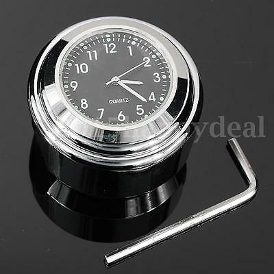 "7/8"" 22mm 1"" UNIVERSAL MOTORCYCLE HANDLEBAR MOUNT DIAL CLOCK WATERPROOF CHORME"