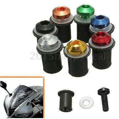 10x Rubber Well Nuts & Stainless Bolts fit Motorcycle Bike Screen Fairing M5 5mm