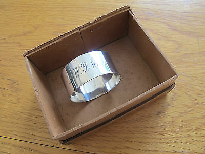 Original Boxed Hallmarked Solid Silver Napkin Ring With History - 1924