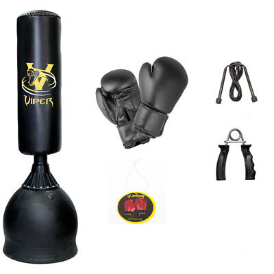 Boxing Free Standing Punch Bag Set Gloves Skipping Rope Martial Arts Kick